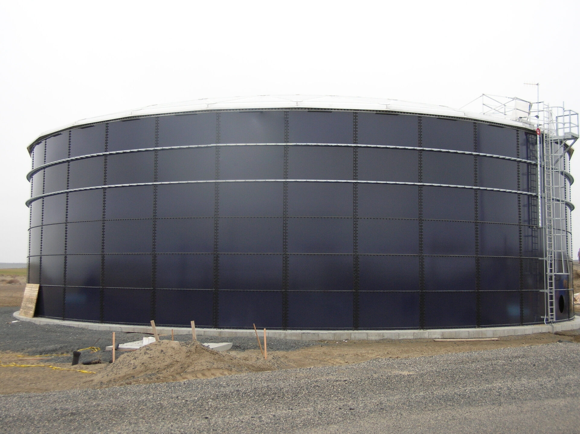side view of a large water tank